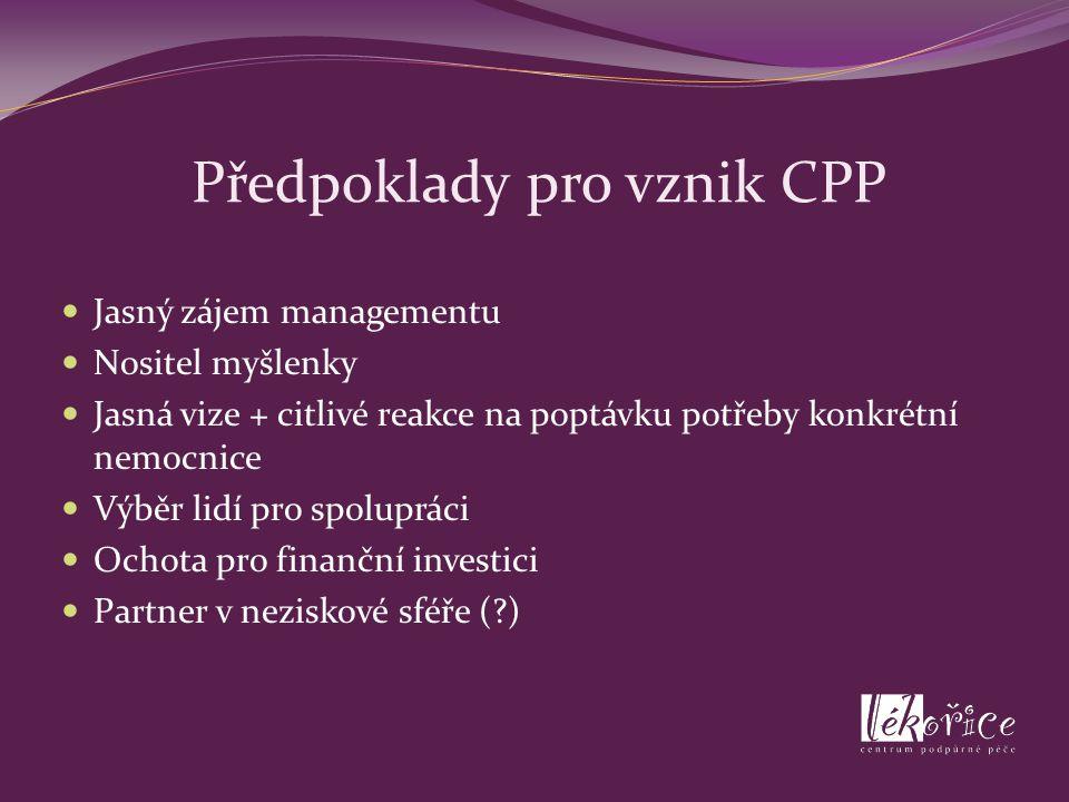 Předpoklady pro vznik CPP Jasný zájem managementu Nositel myšlenky Jasná vize + citlivé reakce na poptávku potřeby konkrétní nemocnice Výběr lidí pro