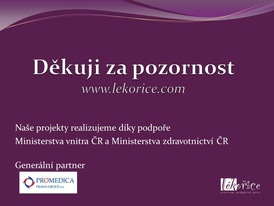 Naše projekty realizujeme díky podpoře Ministerstva vnitra ČR a Ministerstva zdravotnictví ČR Generální partner