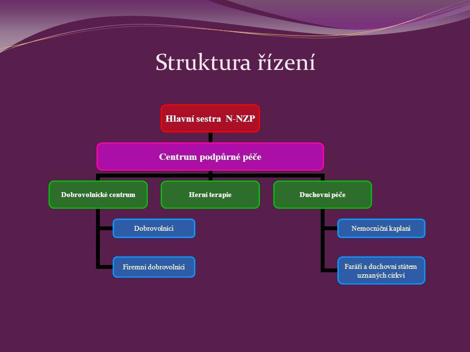 Struktura řízení Hlavní sestra N- NZP Centrum podpůrné péče Dobrovolnické centrum Dobrovolníci Firemní dobrovolníci Herní terapieDuchovní péče Nemocni
