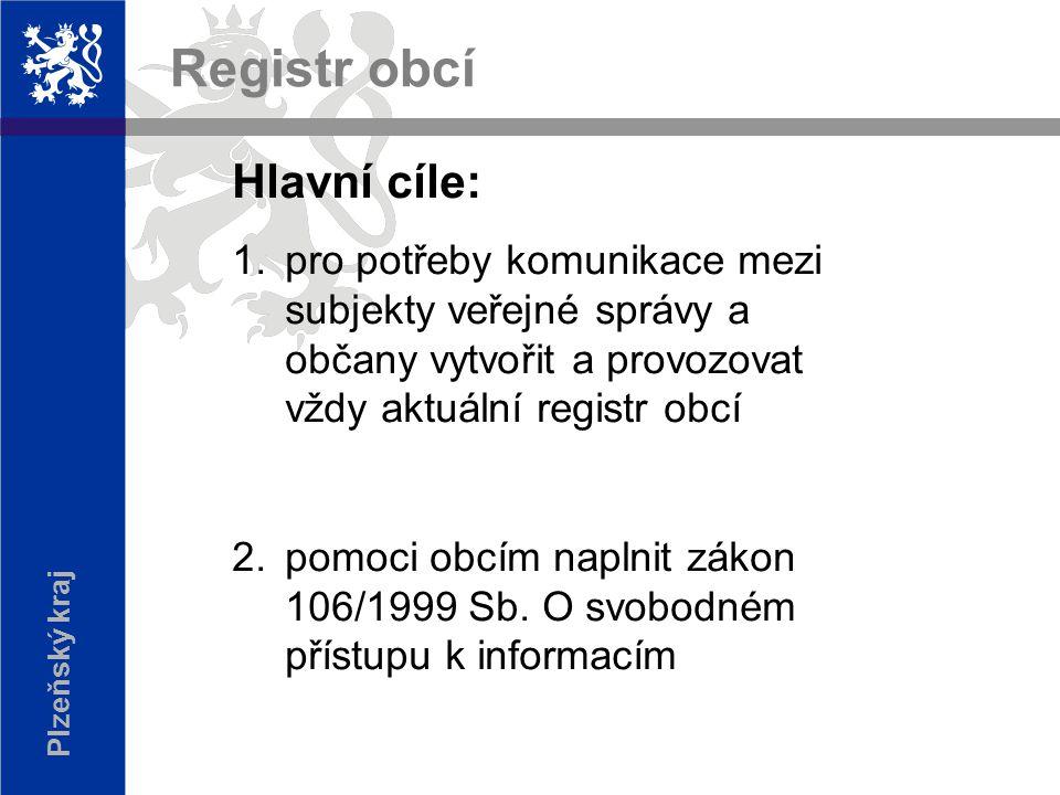 Plzeňský kraj Hlavní cíle: 1.pro potřeby komunikace mezi subjekty veřejné správy a občany vytvořit a provozovat vždy aktuální registr obcí 2.pomoci obcím naplnit zákon 106/1999 Sb.