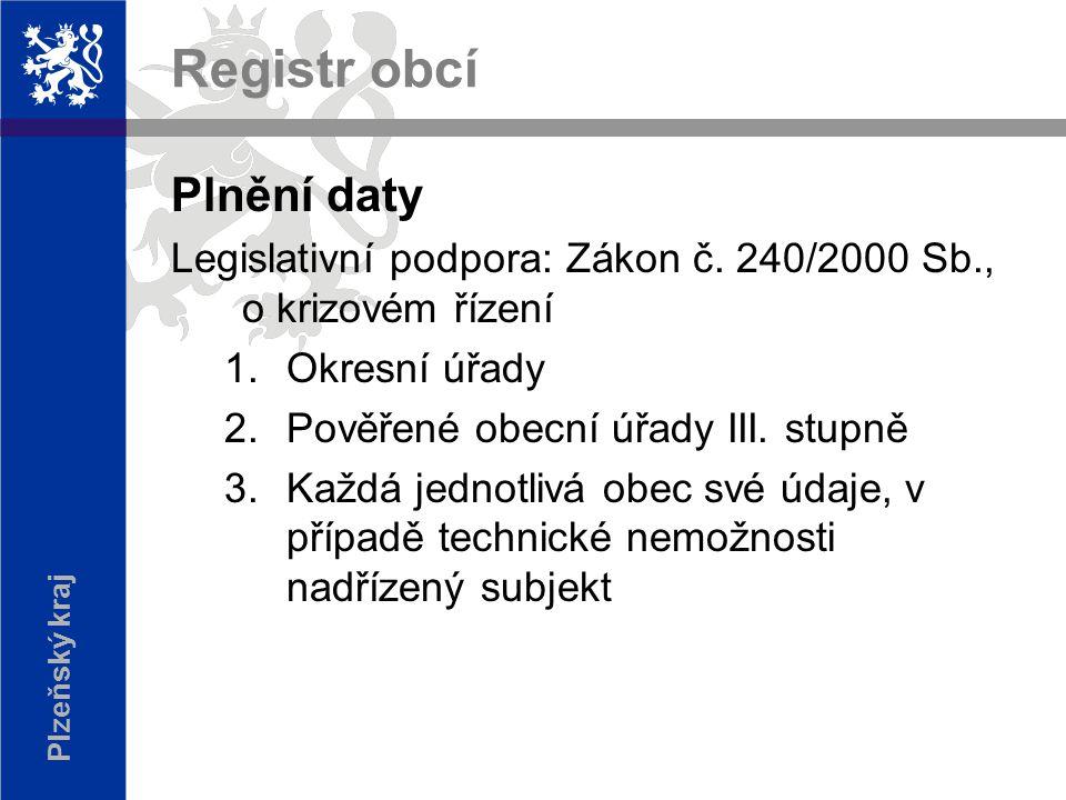 Plzeňský kraj Registr obcí Plnění daty Legislativní podpora: Zákon č.
