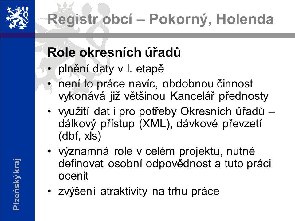 Plzeňský kraj Registr obcí – Pokorný, Holenda Role okresních úřadů plnění daty v I.