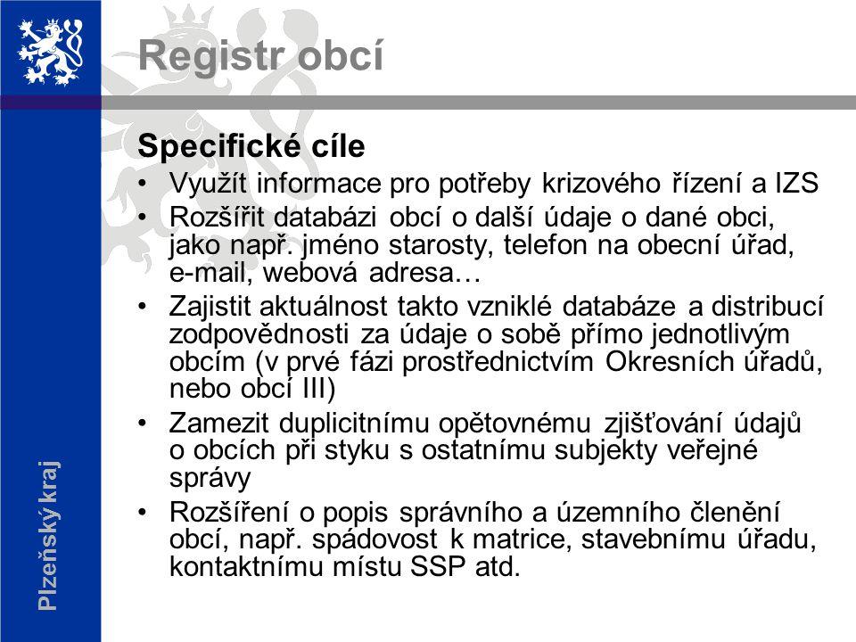 Plzeňský kraj Registr obcí Specifické cíle Využít informace pro potřeby krizového řízení a IZS Rozšířit databázi obcí o další údaje o dané obci, jako např.
