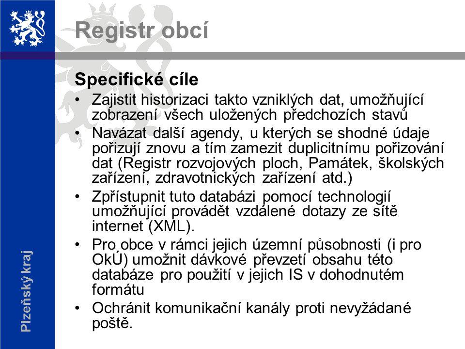 Plzeňský kraj Registr obcí Základní teze soulad s připravovaným zákonem o základních registrech (UIR-ADR) standard ISVS, Věstník ÚVIS č.7/2001 umožnit provoz na různých platformách (Oracle, MS SQL, IIS, Apache…..)
