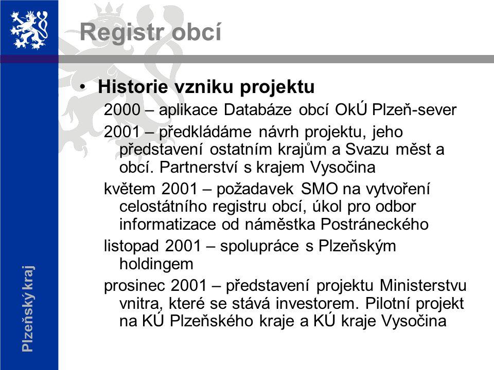 Plzeňský kraj Registr obcí Historie vzniku projektu 2000 – aplikace Databáze obcí OkÚ Plzeň-sever 2001 – předkládáme návrh projektu, jeho představení ostatním krajům a Svazu měst a obcí.