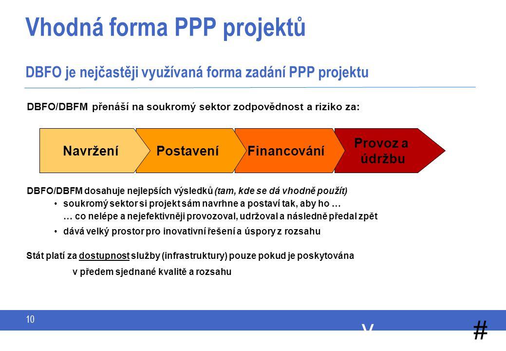 y # 10 Vhodná forma PPP projektů DBFO je nejčastěji využívaná forma zadání PPP projektu DBFO/DBFM přenáší na soukromý sektor zodpovědnost a riziko za: Provoz a údržbu FinancováníPostaveníNavržení DBFO/DBFM dosahuje nejlepších výsledků (tam, kde se dá vhodně použít) soukromý sektor si projekt sám navrhne a postaví tak, aby ho … … co nelépe a nejefektivněji provozoval, udržoval a následně předal zpět dává velký prostor pro inovativní řešení a úspory z rozsahu Stát platí za dostupnost služby (infrastruktury) pouze pokud je poskytována v předem sjednané kvalitě a rozsahu
