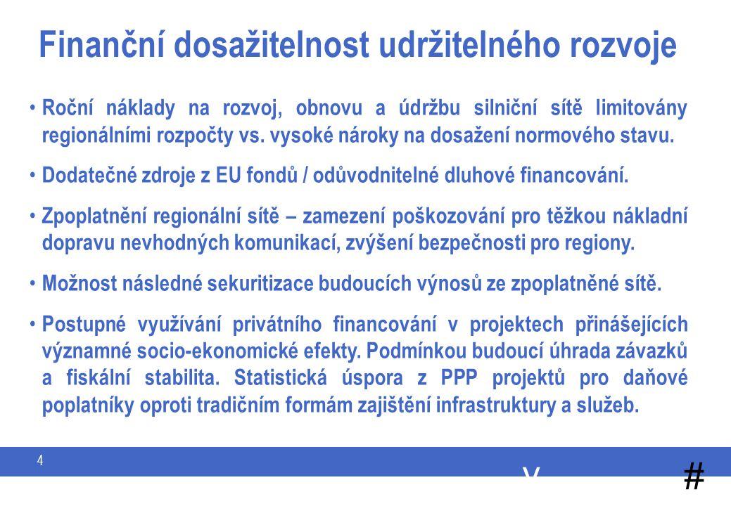 y # 4 Finanční dosažitelnost udržitelného rozvoje Roční náklady na rozvoj, obnovu a údržbu silniční sítě limitovány regionálními rozpočty vs.