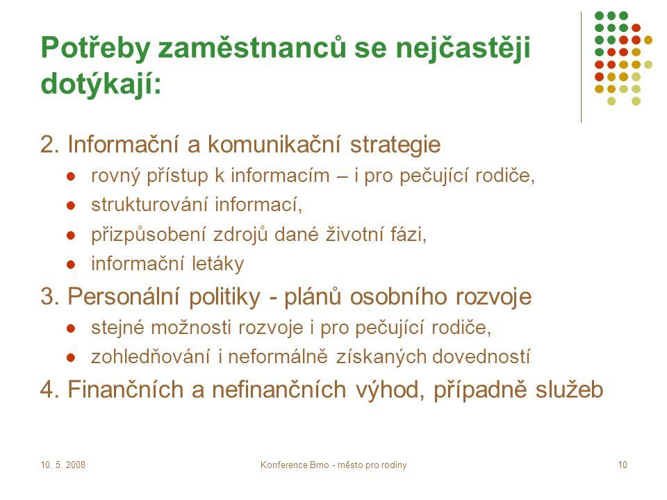 10. 5. 2008Konference Brno - město pro rodiny10 Potřeby zaměstnanců se nejčastěji dotýkají: 2.