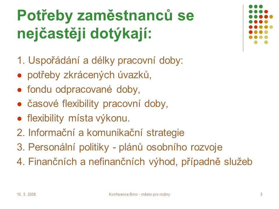 10. 5. 2008Konference Brno - město pro rodiny5 Potřeby zaměstnanců se nejčastěji dotýkají: 1.