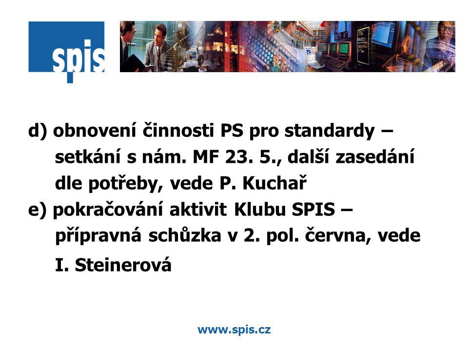 www.spis.cz d) obnovení činnosti PS pro standardy – setkání s nám.