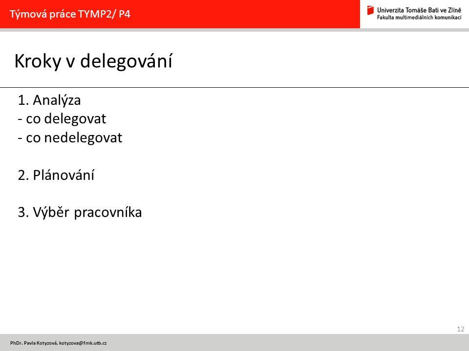 12 PhDr. Pavla Kotyzová, kotyzova@fmk.utb.cz Kroky v delegování Týmová práce TYMP2/ P4 1. Analýza - co delegovat - co nedelegovat 2. Plánování 3. Výbě
