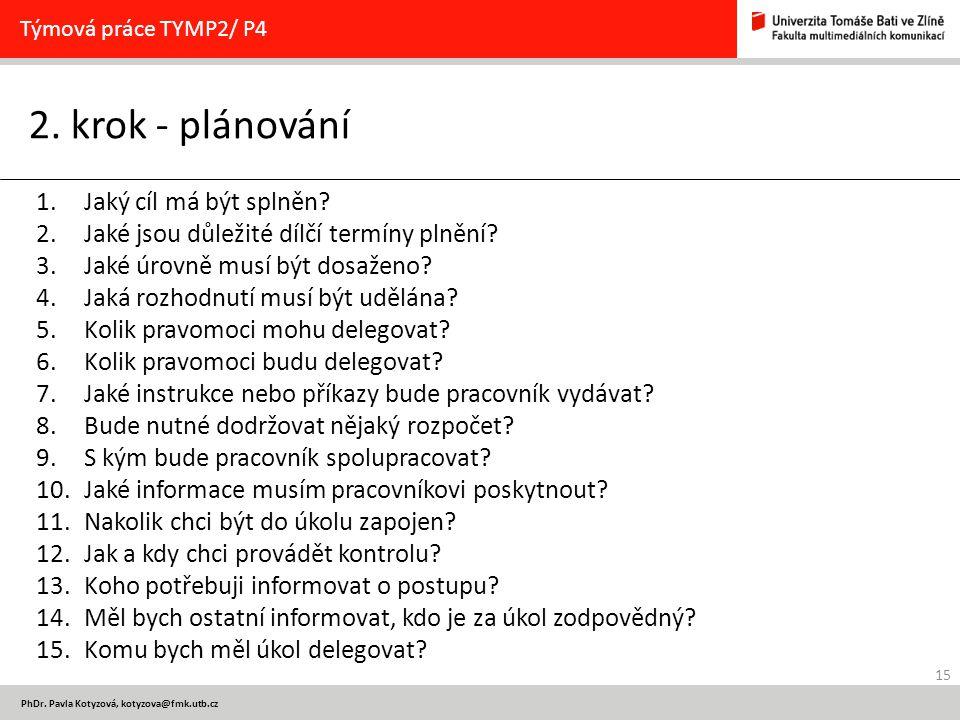 15 PhDr. Pavla Kotyzová, kotyzova@fmk.utb.cz 2. krok - plánování Týmová práce TYMP2/ P4 1.Jaký cíl má být splněn? 2.Jaké jsou důležité dílčí termíny p