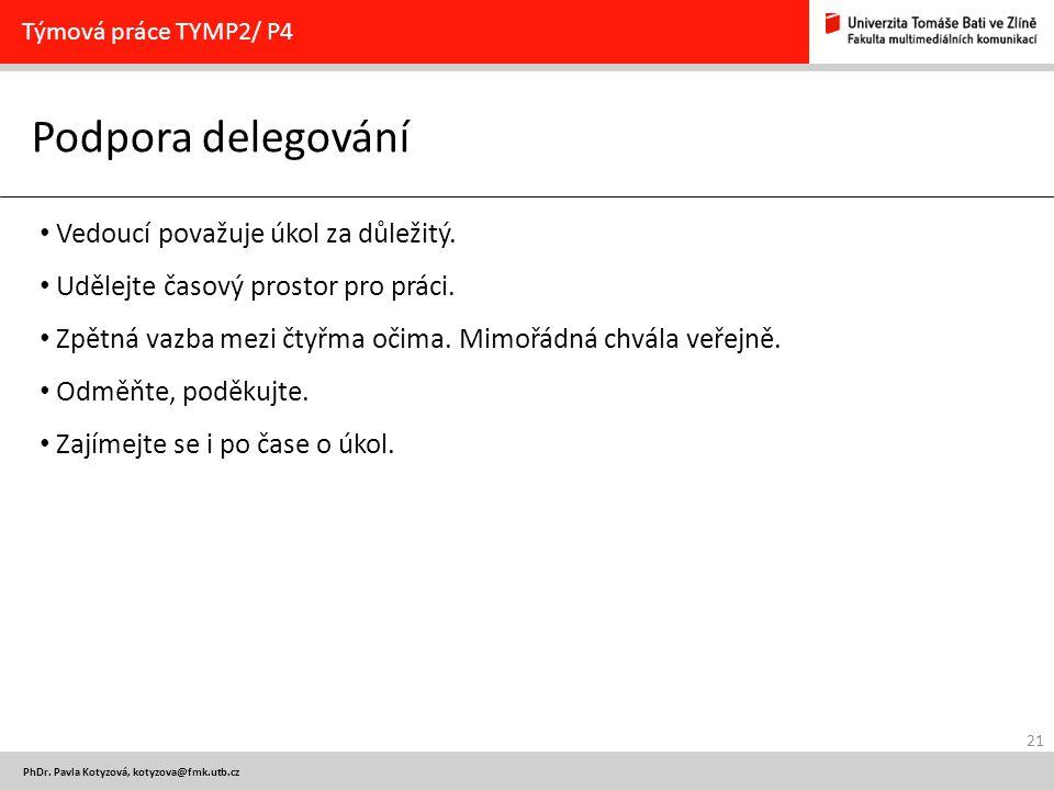 21 PhDr. Pavla Kotyzová, kotyzova@fmk.utb.cz Podpora delegování Týmová práce TYMP2/ P4 Vedoucí považuje úkol za důležitý. Udělejte časový prostor pro