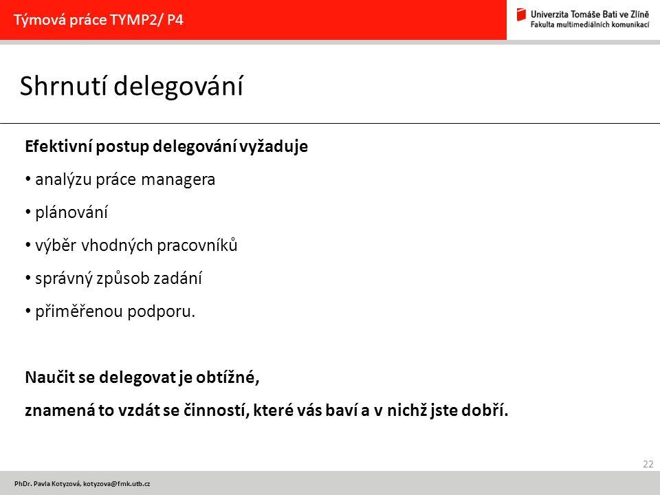 22 PhDr. Pavla Kotyzová, kotyzova@fmk.utb.cz Shrnutí delegování Týmová práce TYMP2/ P4 Efektivní postup delegování vyžaduje analýzu práce managera plá