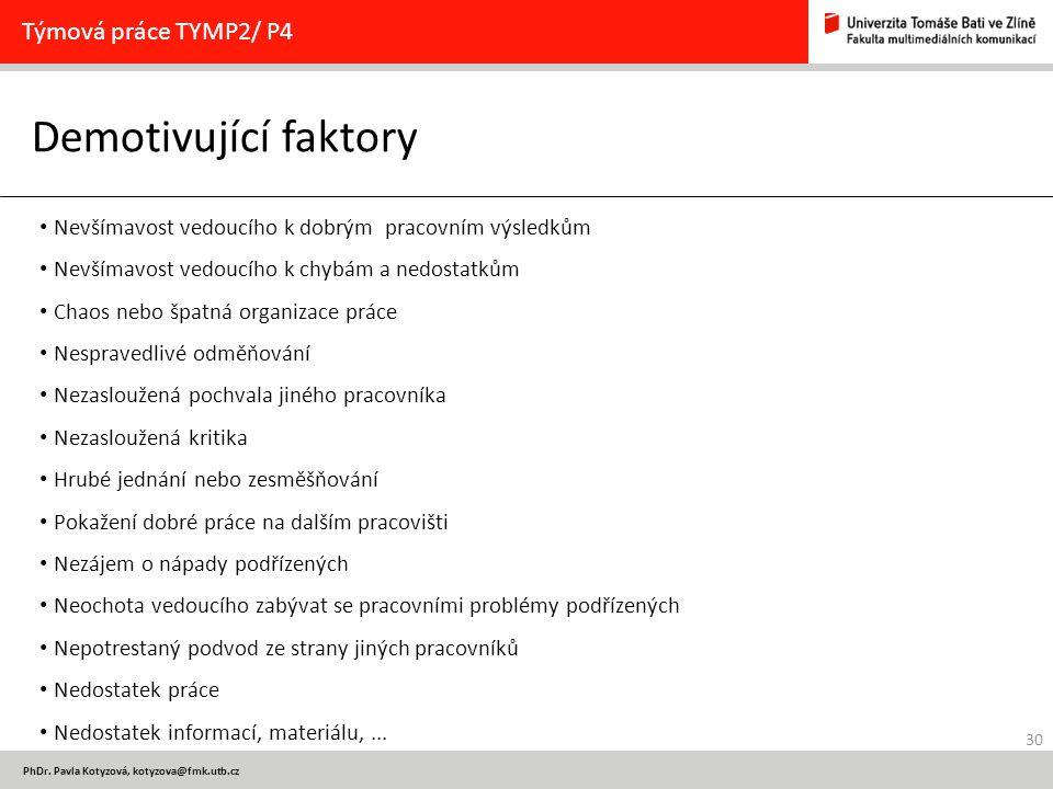 30 PhDr. Pavla Kotyzová, kotyzova@fmk.utb.cz Demotivující faktory Týmová práce TYMP2/ P4 Nevšímavost vedoucího k dobrým pracovním výsledkům Nevšímavos