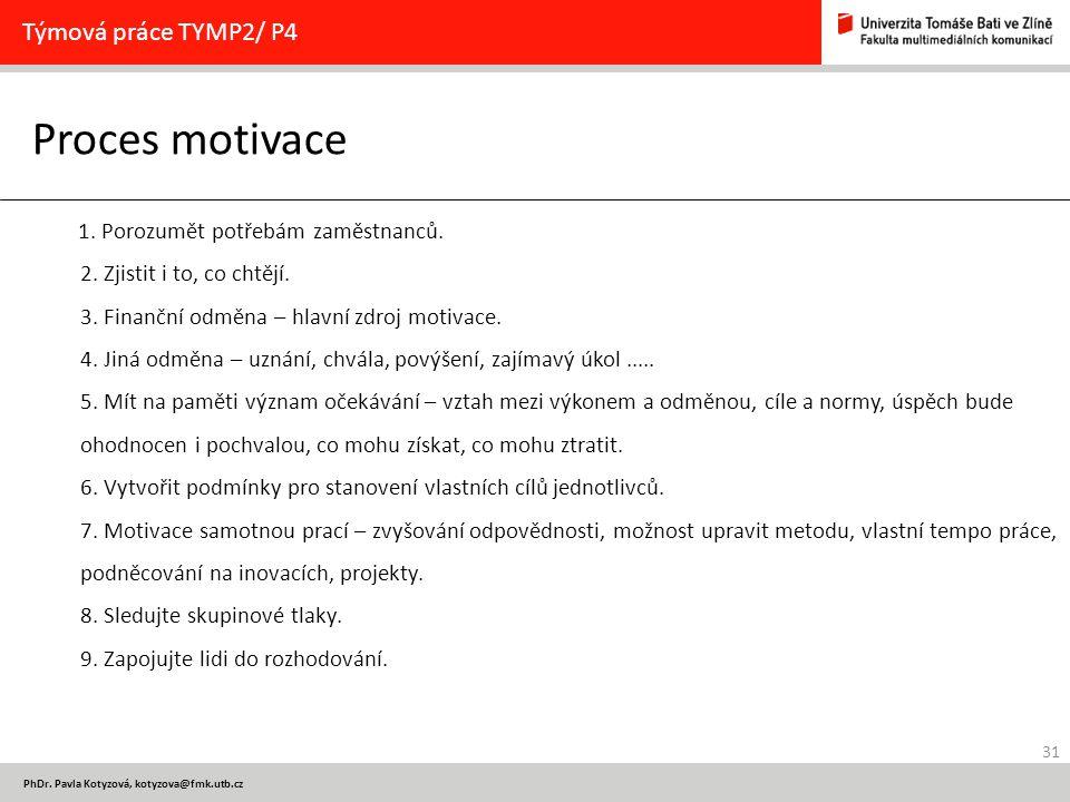31 PhDr. Pavla Kotyzová, kotyzova@fmk.utb.cz Proces motivace Týmová práce TYMP2/ P4 1. Porozumět potřebám zaměstnanců. 2. Zjistit i to, co chtějí. 3.