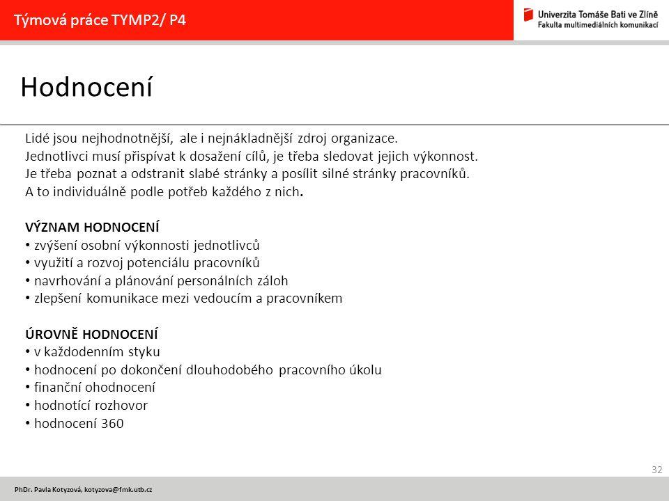 32 PhDr. Pavla Kotyzová, kotyzova@fmk.utb.cz Hodnocení Týmová práce TYMP2/ P4 Lidé jsou nejhodnotnější, ale i nejnákladnější zdroj organizace. Jednotl