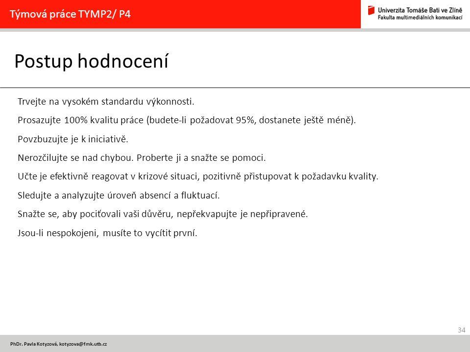 34 PhDr. Pavla Kotyzová, kotyzova@fmk.utb.cz Postup hodnocení Týmová práce TYMP2/ P4 Trvejte na vysokém standardu výkonnosti. Prosazujte 100% kvalitu