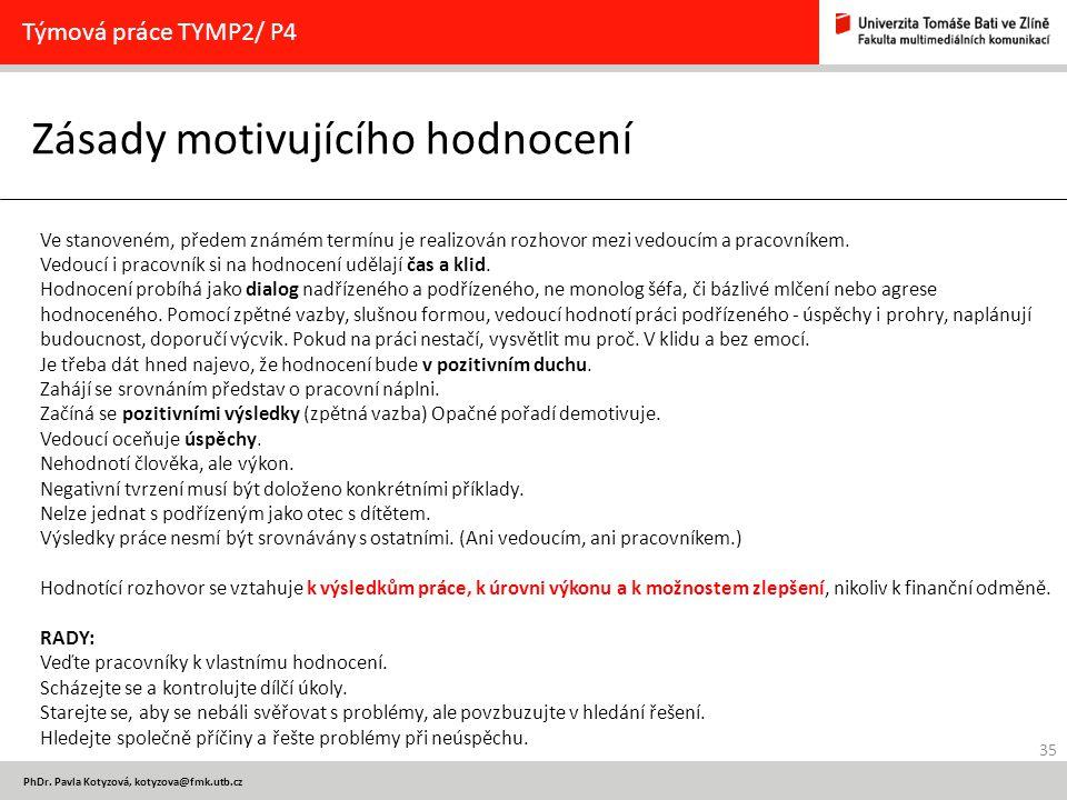 35 PhDr. Pavla Kotyzová, kotyzova@fmk.utb.cz Zásady motivujícího hodnocení Týmová práce TYMP2/ P4 Ve stanoveném, předem známém termínu je realizován r