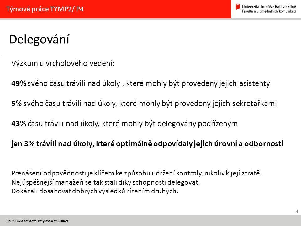 4 PhDr. Pavla Kotyzová, kotyzova@fmk.utb.cz Delegování Týmová práce TYMP2/ P4 Výzkum u vrcholového vedení: 49% svého času trávili nad úkoly, které moh