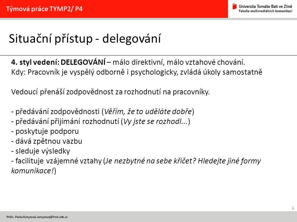 6 PhDr. Pavla Kotyzová, kotyzova@fmk.utb.cz Situační přístup - delegování Týmová práce TYMP2/ P4 4. styl vedení: DELEGOVÁNÍ – málo direktivní, málo vz
