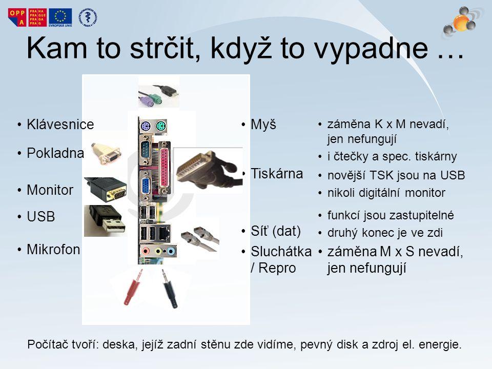Kam to strčit, když to vypadne … Klávesnice Pokladna Monitor USB Mikrofon záměna K x M nevadí, jen nefungují i čtečky a spec. tiskárny novější TSK jso