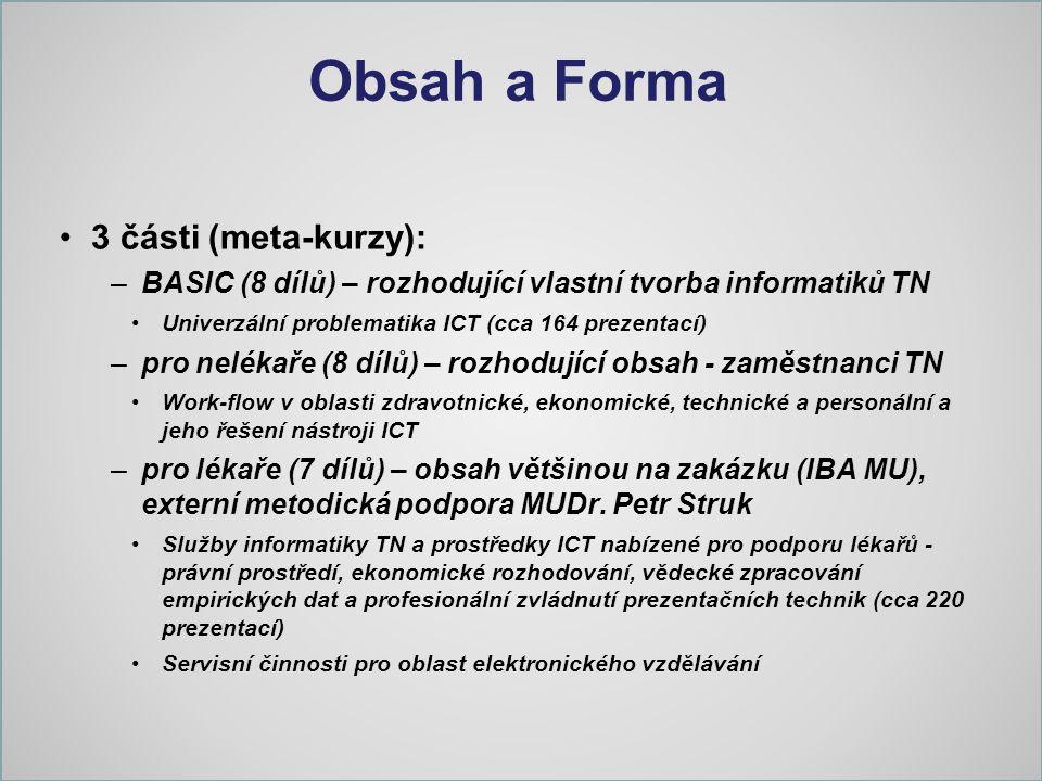 Obsah a Forma 3 části (meta-kurzy): –BASIC (8 dílů) – rozhodující vlastní tvorba informatiků TN Univerzální problematika ICT (cca 164 prezentací) –pro