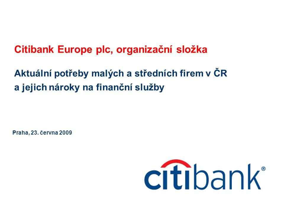 Citibank Europe plc, organizační složka Aktuální potřeby malých a středních firem v ČR a jejich nároky na finanční služby Praha, 23. června 2009