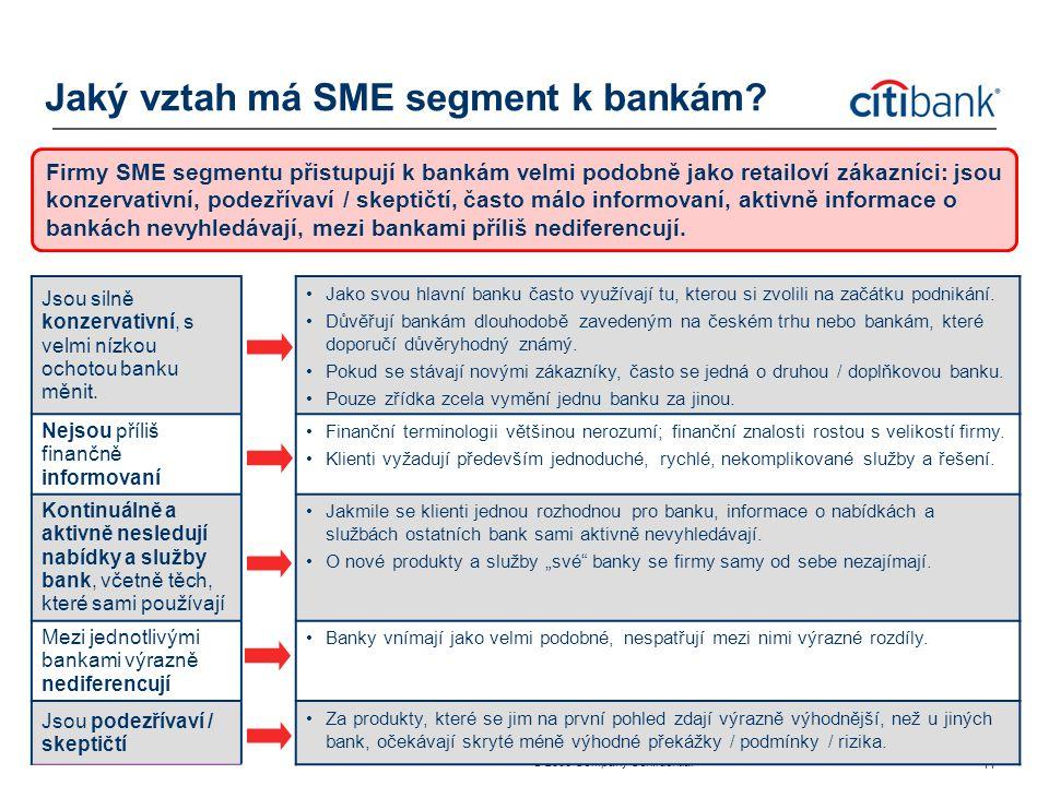 ® 2006 Company Confidential 11 Jaký vztah má SME segment k bankám? Firmy SME segmentu přistupují k bankám velmi podobně jako retailoví zákazníci: jsou