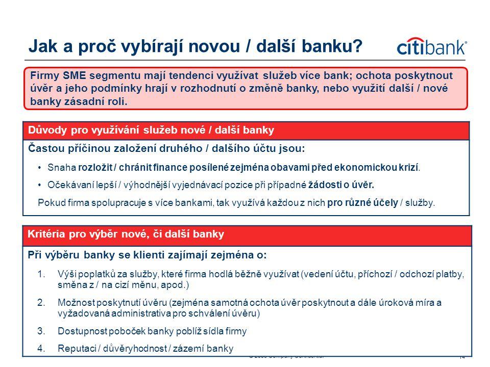 ® 2006 Company Confidential 14 Jak a proč vybírají novou / další banku? Firmy SME segmentu mají tendenci využívat služeb více bank; ochota poskytnout