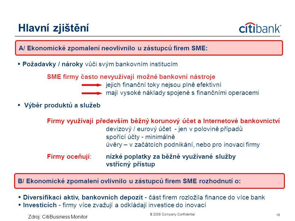 ® 2006 Company Confidential 15 Hlavní zjištění  Požadavky / nároky vůči svým bankovním institucím SME firmy často nevyužívají možné bankovní nástroje