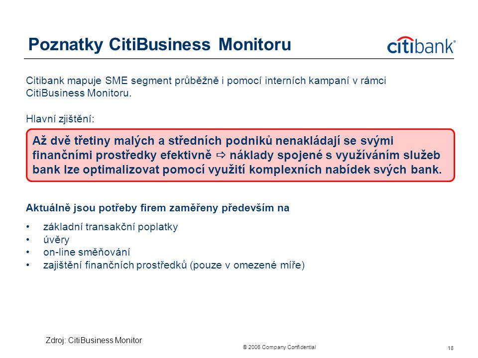 ® 2006 Company Confidential 18 Poznatky CitiBusiness Monitoru Citibank mapuje SME segment průběžně i pomocí interních kampaní v rámci CitiBusiness Mon