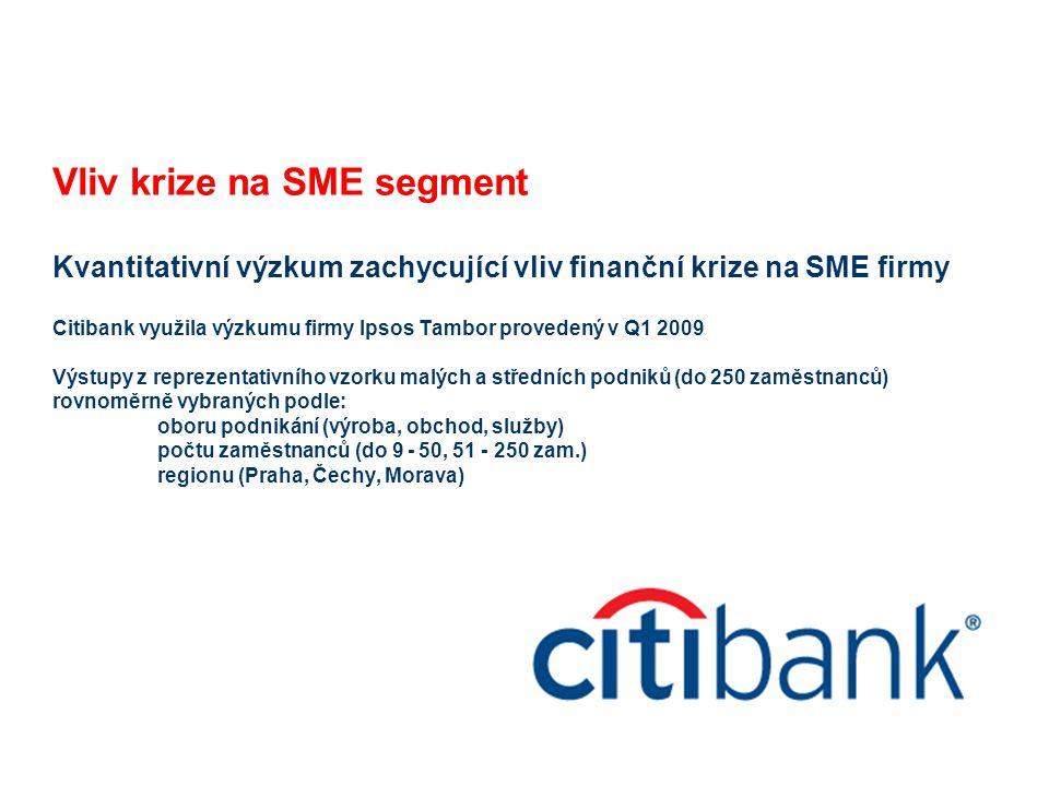 Vliv krize na SME segment Kvantitativní výzkum zachycující vliv finanční krize na SME firmy Citibank využila výzkumu firmy Ipsos Tambor provedený v Q1