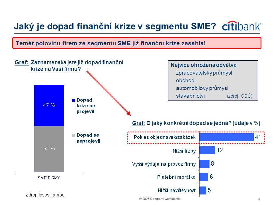 ® 2006 Company Confidential 5 Jaký je dopad finanční krize v segmentu SME? Téměř polovinu firem ze segmentu SME již finanční krize zasáhla! Graf: Zazn