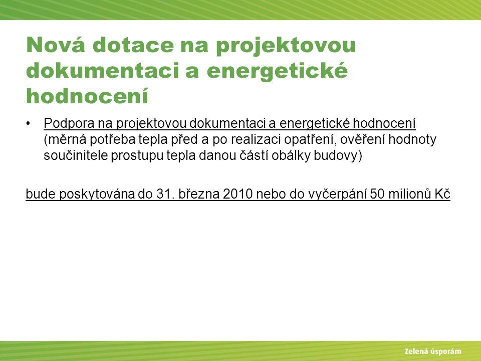 Blanka Veltrubská, SFŽP KP ČB Nová dotace na projektovou dokumentaci a energetické hodnocení Podpora na projektovou dokumentaci a energetické hodnocen