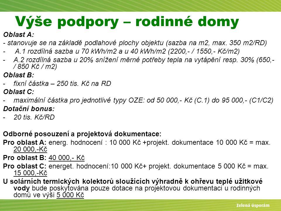 Blanka Veltrubská, SFŽP KP ČB Výše podpory – rodinné domy Oblast A: - stanovuje se na základě podlahové plochy objektu (sazba na m2, max. 350 m2/RD) -