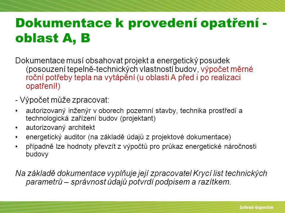 Blanka Veltrubská, SFŽP KP ČB Dokumentace k provedení opatření - oblast A, B Dokumentace musí obsahovat projekt a energetický posudek (posouzení tepel