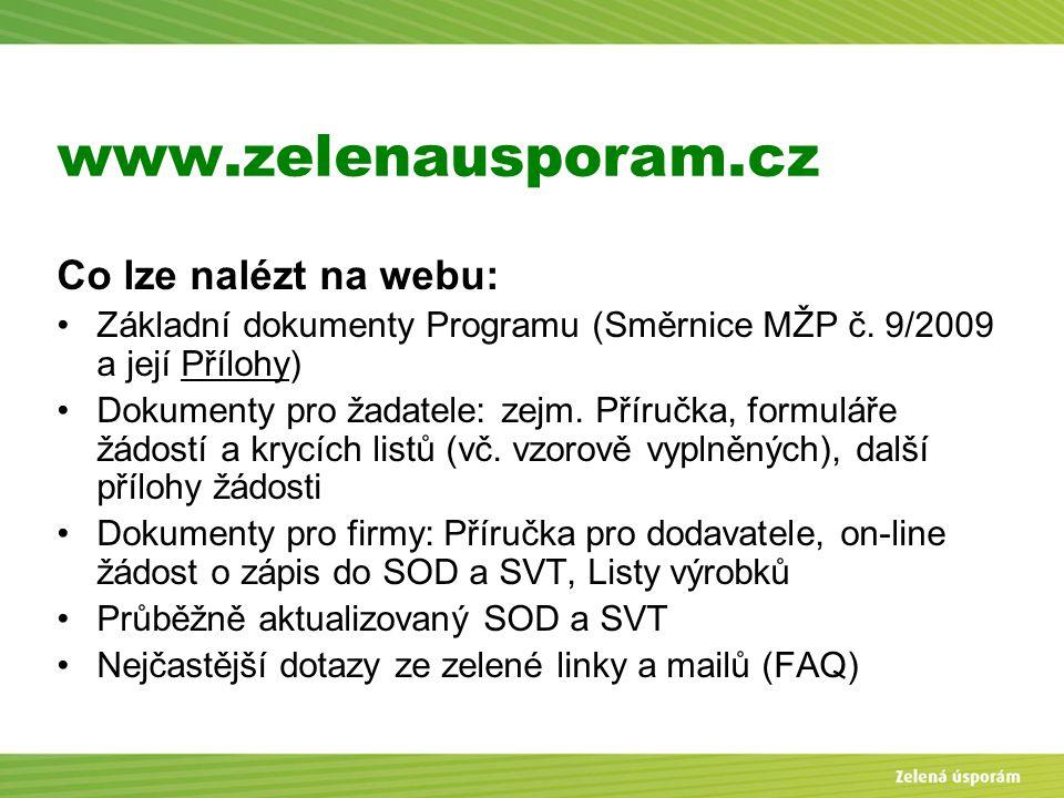 Blanka Veltrubská, SFŽP KP ČB www.zelenausporam.cz Co lze nalézt na webu: Základní dokumenty Programu (Směrnice MŽP č. 9/2009 a její Přílohy) Dokument