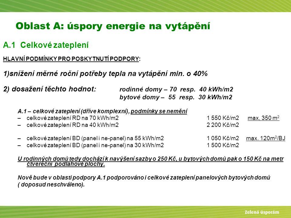 Blanka Veltrubská, SFŽP KP ČB Oblast A: úspory energie na vytápění A.1 Celkové zateplení HLAVNÍ PODMÍNKY PRO POSKYTNUTÍ PODPORY: 1)snížení měrné roční