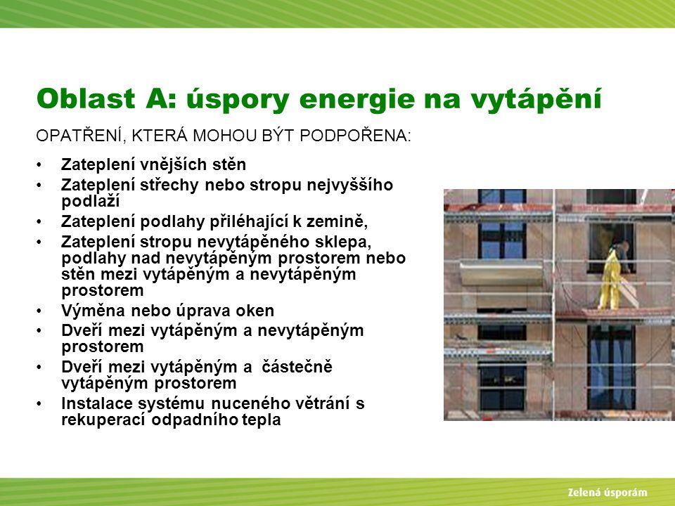Blanka Veltrubská, SFŽP KP ČB Oblast A: úspory energie na vytápění OPATŘENÍ, KTERÁ MOHOU BÝT PODPOŘENA: Zateplení vnějších stěn Zateplení střechy nebo