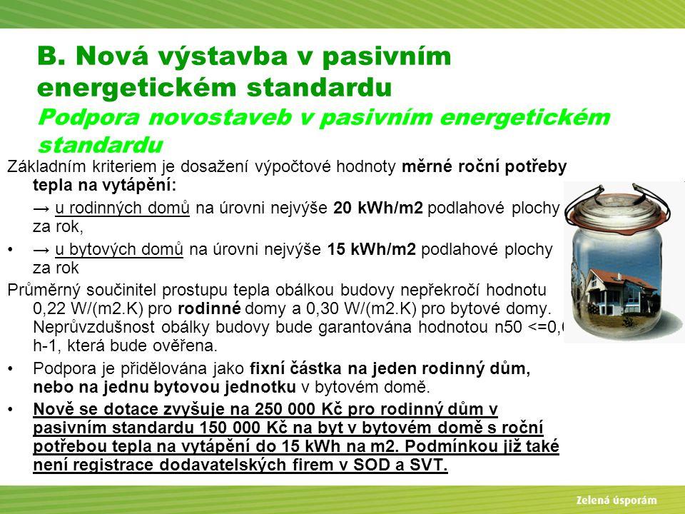 Blanka Veltrubská, SFŽP KP ČB B. Nová výstavba v pasivním energetickém standardu Podpora novostaveb v pasivním energetickém standardu Základním kriter