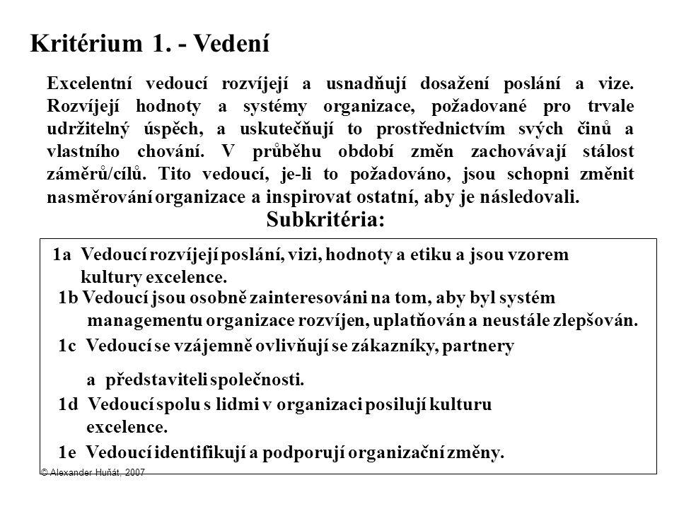 © Alexander Huňát, 2007 Kritérium 1. - Vedení Excelentní vedoucí rozvíjejí a usnadňují dosažení poslání a vize. Rozvíjejí hodnoty a systémy organizace