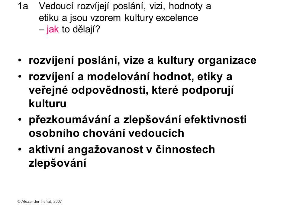 © Alexander Huňát, 2007 1a Vedoucí rozvíjejí poslání, vizi, hodnoty a etiku a jsou vzorem kultury excelence – jak to dělají? rozvíjení poslání, vize a