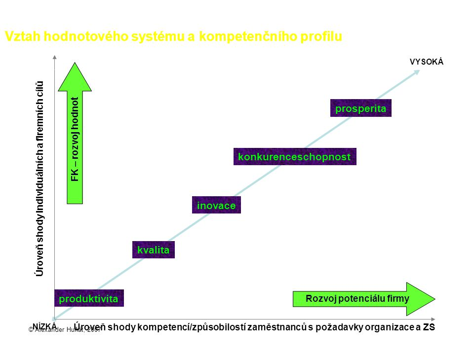© Alexander Huňát, 2007 konkurenceschopnost Vztah hodnotového systému a kompetenčního profilu Úroveň shody individuálních a firemních cílů Úroveň shod