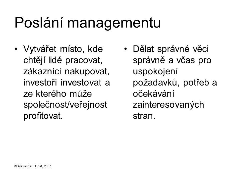 © Alexander Huňát, 2007 Poslání managementu Vytvářet místo, kde chtějí lidé pracovat, zákazníci nakupovat, investoři investovat a ze kterého může společnost/veřejnost profitovat.