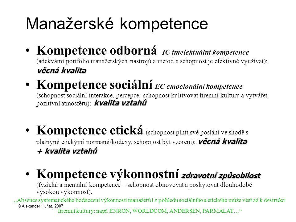 © Alexander Huňát, 2007 Manažerské kompetence Kompetence odborná IC intelektuální kompetence (adekvátní portfolio manažerských nástrojů a metod a schopnost je efektivně využívat); věcná kvalita kvalita vztahůKompetence sociální EC emocionální kompetence (schopnost sociální interakce, percepce, schopnost kultivovat firemní kulturu a vytvářet pozitivní atmosféru); kvalita vztahů věcná kvalitaKompetence etická (schopnost plnit své poslání ve shodě s platnými etickými normami/kodexy, schopnost být vzorem); věcná kvalita + kvalita vztahů + kvalita vztahů zdravotní způsobilostKompetence výkonnostní zdravotní způsobilost (fyzická a mentální kompetence – schopnost obnovovat a poskytovat dlouhodobě vysokou výkonnost).