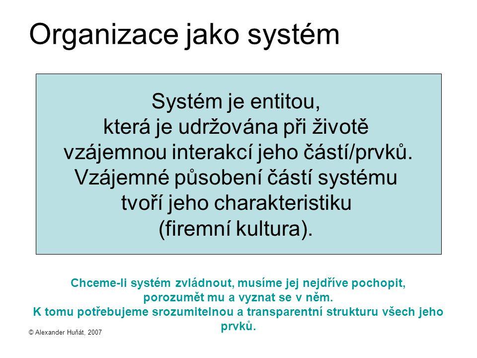 © Alexander Huňát, 2007 Organizace jako systém Chceme-li systém zvládnout, musíme jej nejdříve pochopit, porozumět mu a vyznat se v něm. K tomu potřeb