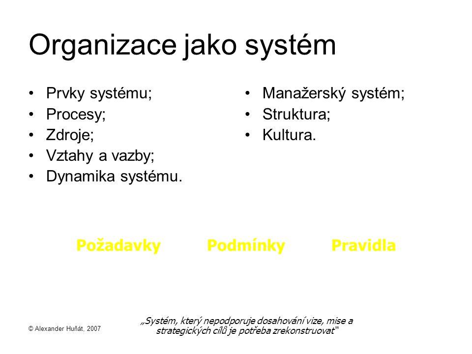 © Alexander Huňát, 2007 Organizace jako systém Prvky systému; Procesy; Zdroje; Vztahy a vazby; Dynamika systému.