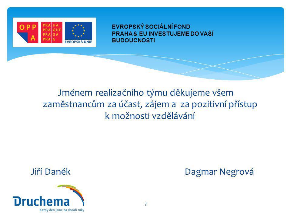 Jménem realizačního týmu děkujeme všem zaměstnancům za účast, zájem a za pozitivní přístup k možnosti vzdělávání Jiří Daněk Dagmar Negrová 7 EVROPSKÝ SOCIÁLNÍ FOND PRAHA & EU INVESTUJEME DO VAŠÍ BUDOUCNOSTI