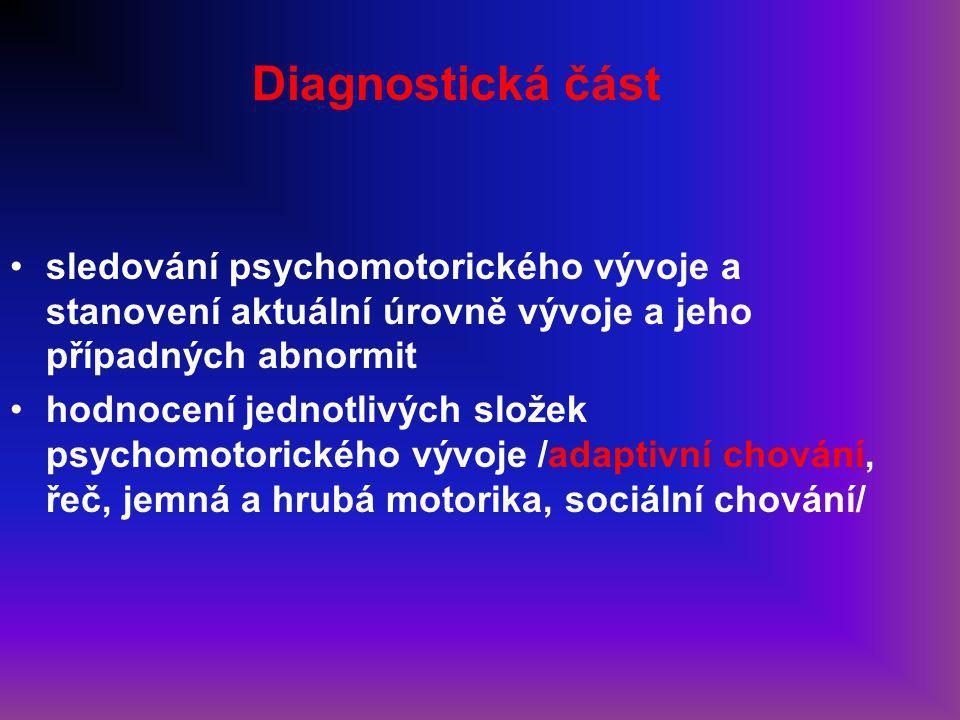 Diagnostická část sledování psychomotorického vývoje a stanovení aktuální úrovně vývoje a jeho případných abnormit hodnocení jednotlivých složek psychomotorického vývoje /adaptivní chování, řeč, jemná a hrubá motorika, sociální chování/